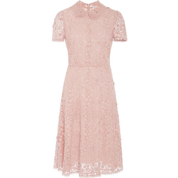 Red Valentino     Floral Macramé Collared Short Dress (€545) ❤ liked on Polyvore featuring dresses, pink, pink a line dress, floral dresses, short sleeve dress, knee length dresses and short floral dresses