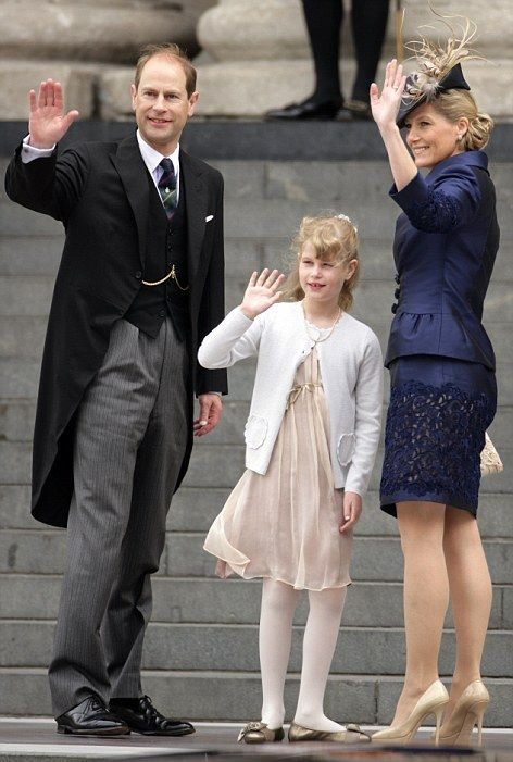 Prince Edward and Sophie, Countess of Wessex with their daughter Lady Louise arrive at the cathedral