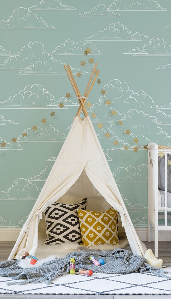 Add a splash of colour to your nursery spaces with this charming wallpaper design. Delicately drawn clouds float along to create a calming effect in your home. Pair with a star garland for a truly whimsical feel.