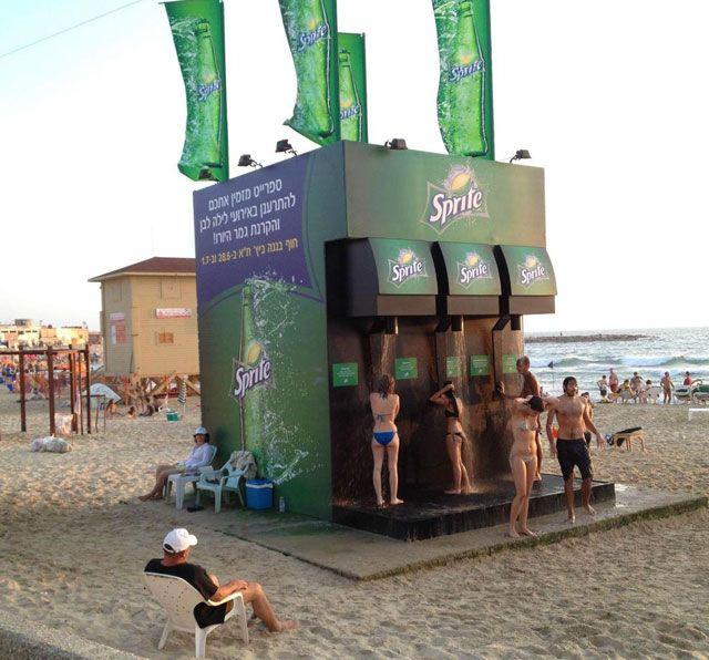 A Beach Shower That Looks Like a Giant Sprite Machine