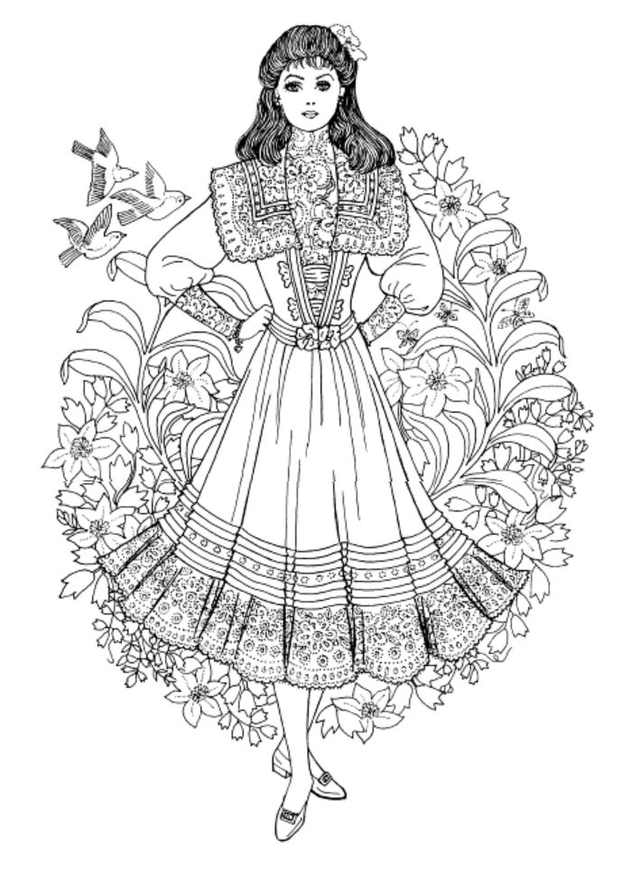 Art Nouveau Fashions Coloring Book Dover Publications