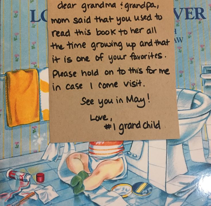 Way to announce pregnancy to grandparents. Find a favorite childhood book and write a note from new baby!