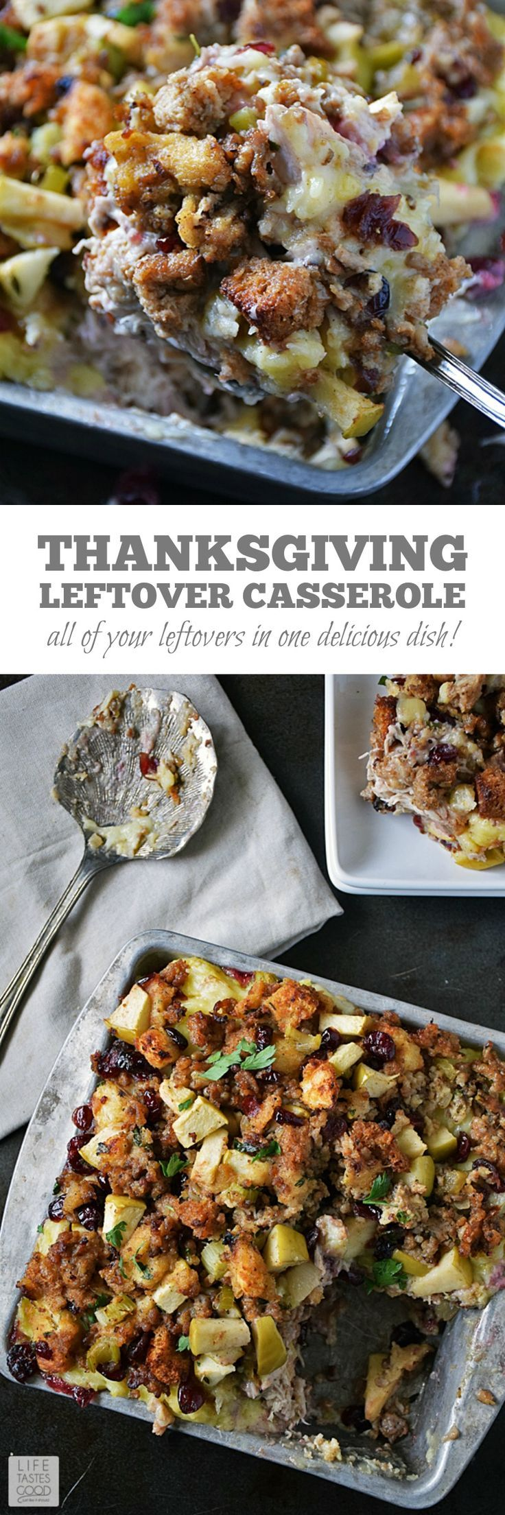 Leftover Thanksgiving Casserole | by Life Tastes Good is a delicious way to use up those holiday leftovers! This is loaded with your leftover turkey, mashed potatoes, stuffing, gravy, and even the cranberry sauce if you like. Plus there's a secret ingredient!! #LTGrecipes #leftovers #ThanksgivingRecipes #HolidayRecipes