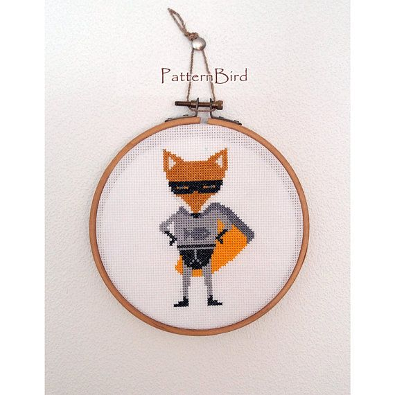 Superhero Fox. Instant Download PDF Cross Stitch by PatternBird