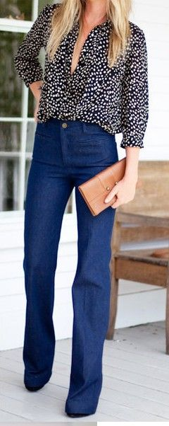high-waisted, flare jeans