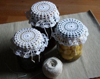 Crochet bianco barattolo coperchio coperchi di MoniqueBoutiqueMB