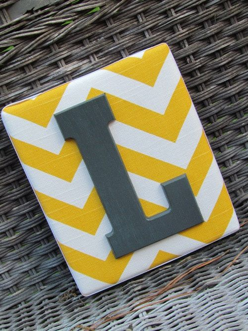 Wall Letters  6x7, Chevron Letters, Painted Letters, Yellow Chevron, Gray Chevron, Personalized Nursery Decor, Chevron Nursery. $14.99, via Etsy.