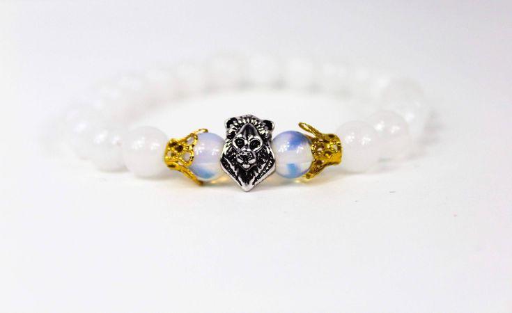 #lionbracelet Lion bracelet for women,  lion bracelet men, white jade bracelet, lions head charm, strength bracelets for women, opalite bead bracelet by BellaLuBowtique on Etsy https://www.etsy.com/listing/555449240/lion-bracelet-for-women-lion-bracelet