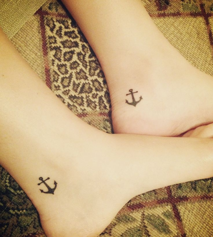 cute anchor match tattoo on ankle for sisters