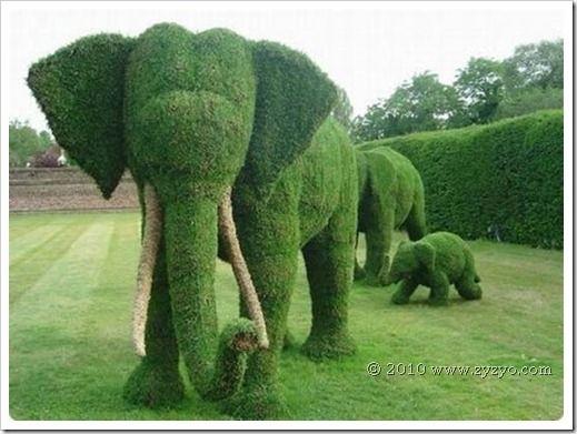 Follow the leader.: Elephants, Sculpture, Yard, Green, Art, Gardens, Animal