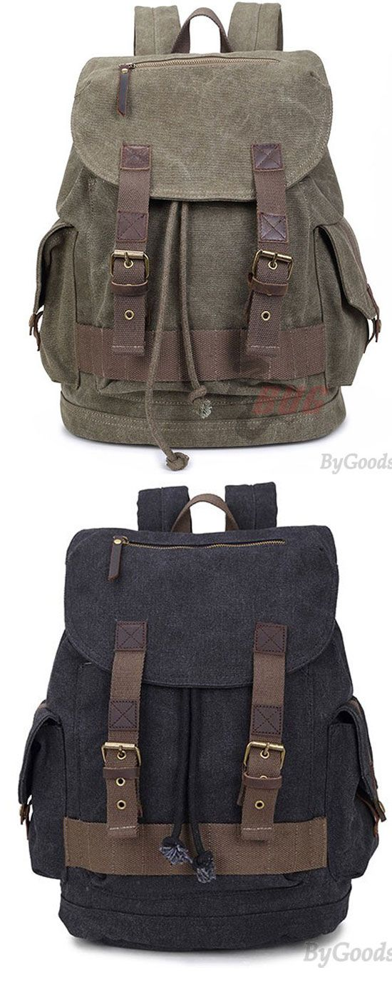Retro Large Thick Canvas Laptop Bag Men's Splicing Draw Strap School Travel Outdoor Flap Backpack for big sale! #travel #college #bag #canvas #backpack #camping