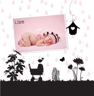 Lief geboortekaartje met silhouet en eigen foto. Gebruik deze kaart en maak hiervan zelf je eigen persoonlijke geboortekaartje. Wil je de kaart door ons laten opmaken? Geen probleem, wij helpen je graag!