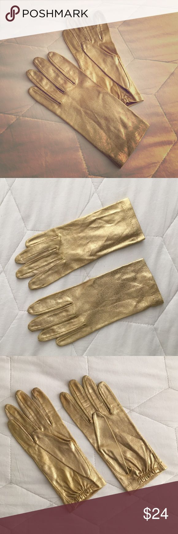 Vintage 1970s Gold Gloves Vintage 1970s gold lame stretch wristlet gloves with elastic at interior wrist. Accessories Gloves & Mittens