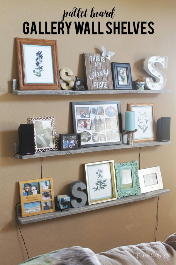 DIY pallet board gallery wall shelves - these are so easy to make. Even a beginner DIYer can do it!