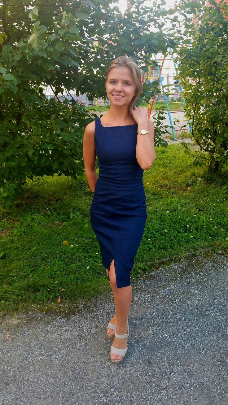Джинсовое платье-футляр / Фотофорум / Burdastyle