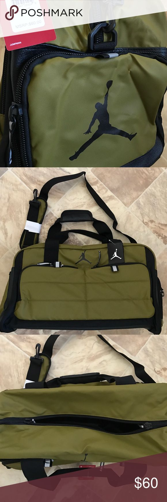 Nike Air Jordan Duffle Basketball Workout Gym Bag 100% authentic and brand new. The latest model!!! Color code: Military Green. The bottom is about 20 inches long and 10 inches wide including side pockets. Jordan Bags Duffel Bags