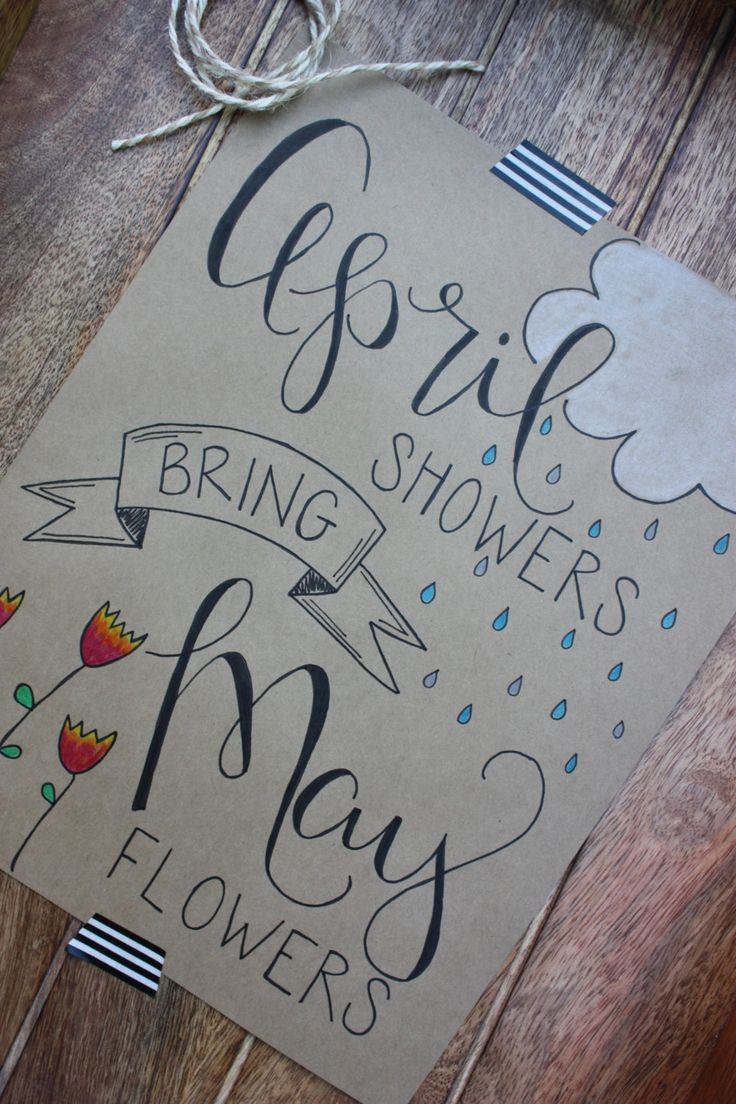 Hand-Lettered Signs | April Showers Bring May Flowers by ALittleScrapOfHappy on Etsy