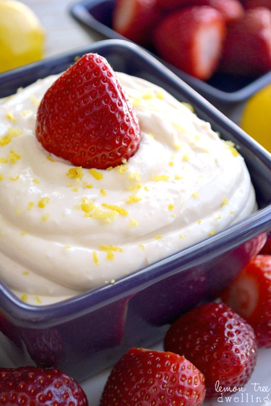 Creamy Lemon Dip Recipe ~ Sweet, tangy lemon dip made with just 5 delicious ingredients and ready in a snap!