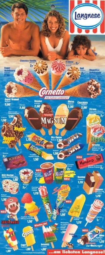 Langnese Ice Lollys Eiskarte 1994 Popsicle