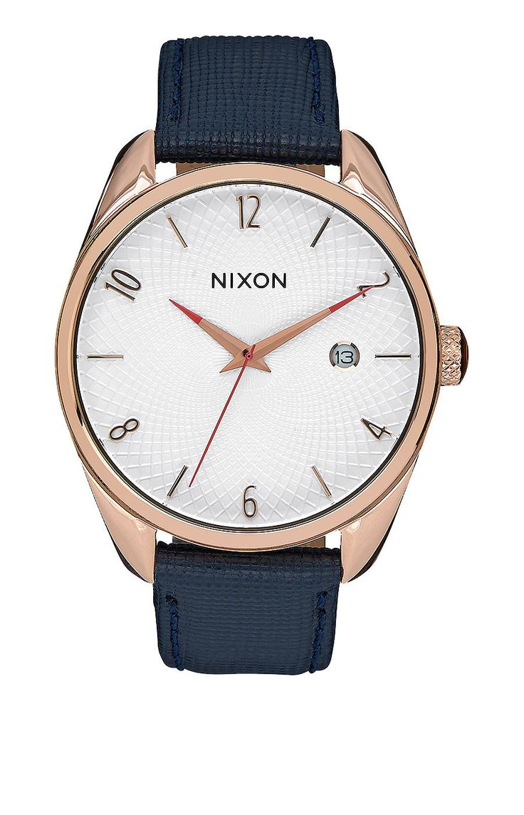 Nixon Bullet Leather Watch - Rose Gold/Navy