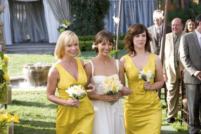 Pin for Later: Always a Bridesmaid: The Best Onscreen Wedding Parties I Love You, Man Denise (Jaime Pressly) and Hailey (Sarah Burns) walk Zooey (Rashida Jones) down the aisle to her fiancé, Peter.
