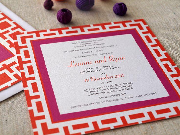 Alannah Rose Box Retro Wedding invitation in custom orange and pink http://www.alannahrose.com.au/shop/category/wedding-stationery