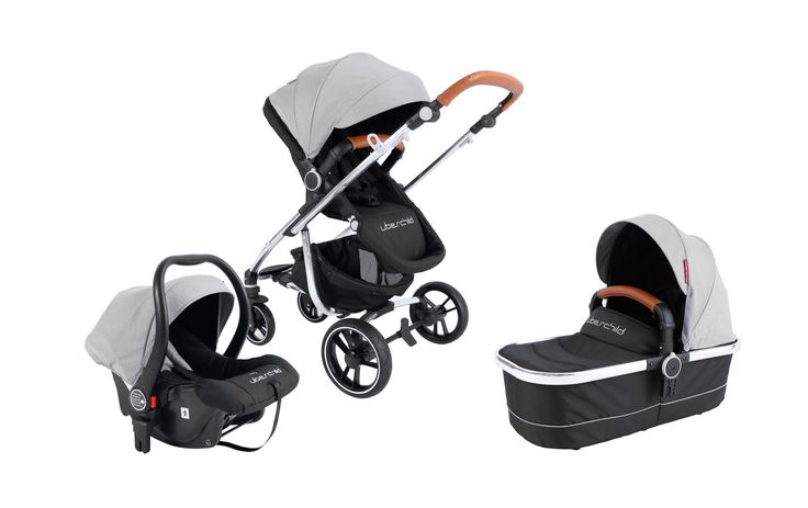 Uberchild MOTO 3 in 1 Travel System Pram - Soft Grey Uberchild.com