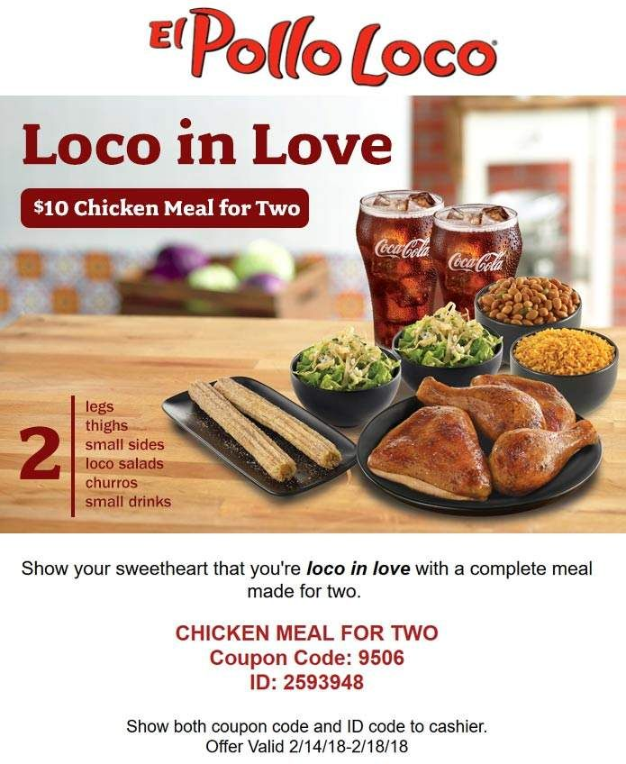 image relating to El Pollo Loco Coupons Printable called Pinned February 15th: 4personal computer Rooster + 2 aspects + 2 salads + 2