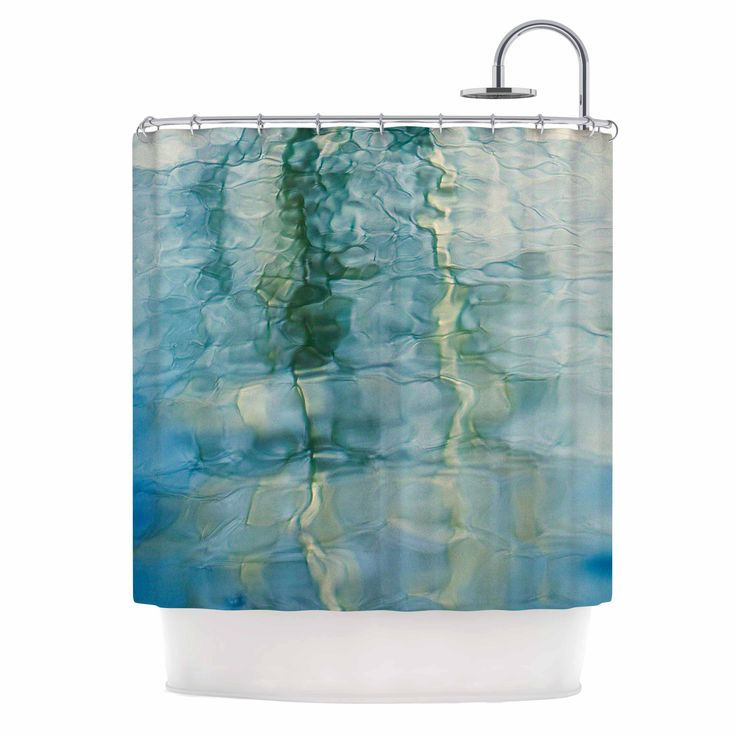 "Malia Shields ""Fluidity Series #2"" Green Teal Shower Curtain"