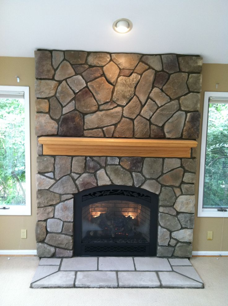 fieldstone fireplace white shelves | Bucks County Dressed Fieldstone by Boral Cultured Stone ...
