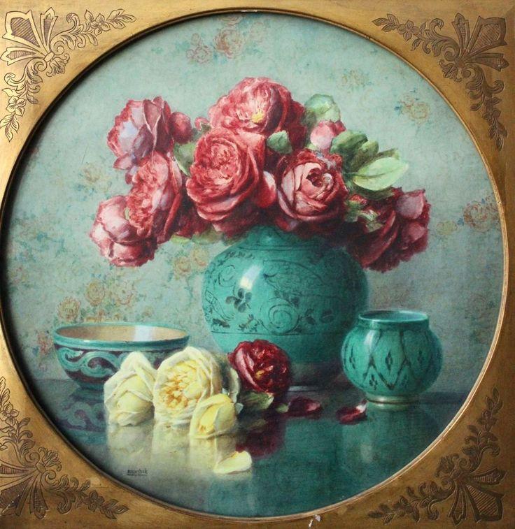 ISIDOR ROSENSTOCK (1880-1956) LARGE SIGNED FRENCH WATERCOLOUR FLOWERS ROSES VASE