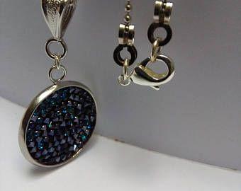Catenina a palline con ciondolo Crystal Fine Rock Swarovski colore Cristal Bermuda Blue.