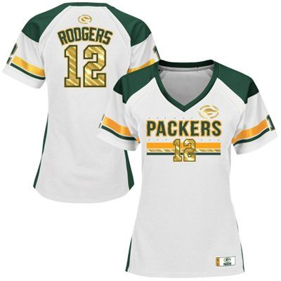 Women's Green Bay Packers Aaron Rodgers Majestic White Draft Him Fashion Top V-Neck T-Shirt