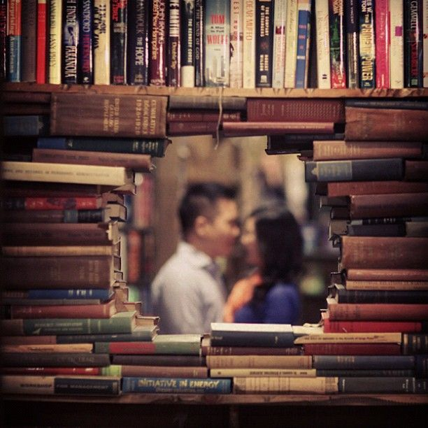 Library engagement photo for couples who love books and love to read - might be cute since we met at B