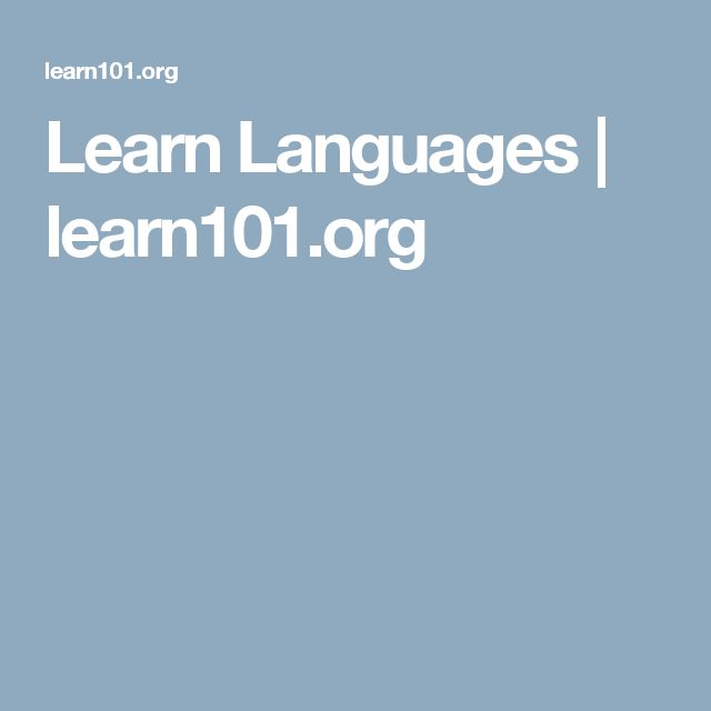 Learn Languages | learn101.org
