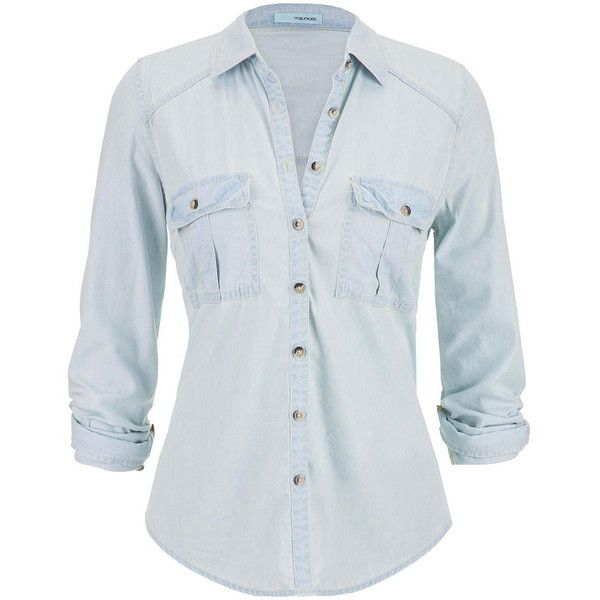maurices Chambray Button Down Shirt In Light Wash found on Polyvore