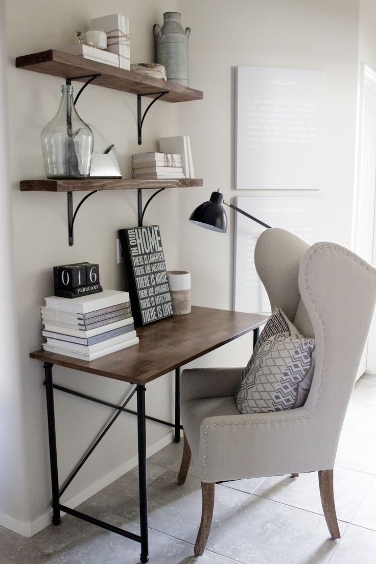 home decorating ideas small home office desk in rustic industrial glam style wingback chair simple wood and metal frame desk wood shelves with black - Desk In Living Room