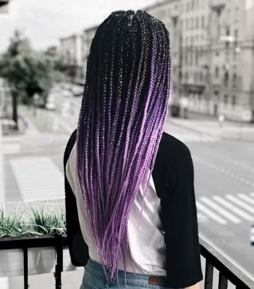Purple Box Braids, Ombre Box Braids, Black Box Braids, Triangle Box Braids, Colored Box Braids, Short Box Braids, Blonde Box Braids, Braids With Color, Long Braids