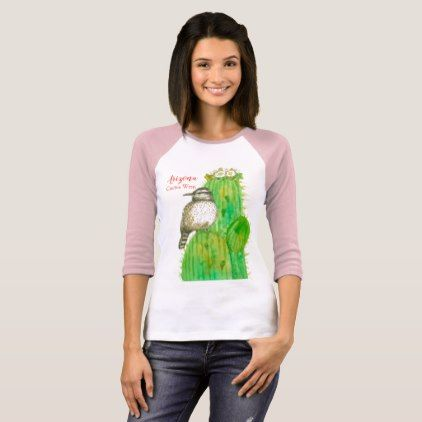 Arizona Cactus Wren State Bird T-Shirt - flowers floral flower design unique style