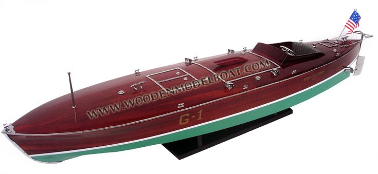 Woodenmodelboat Miss Columbia model ready for display