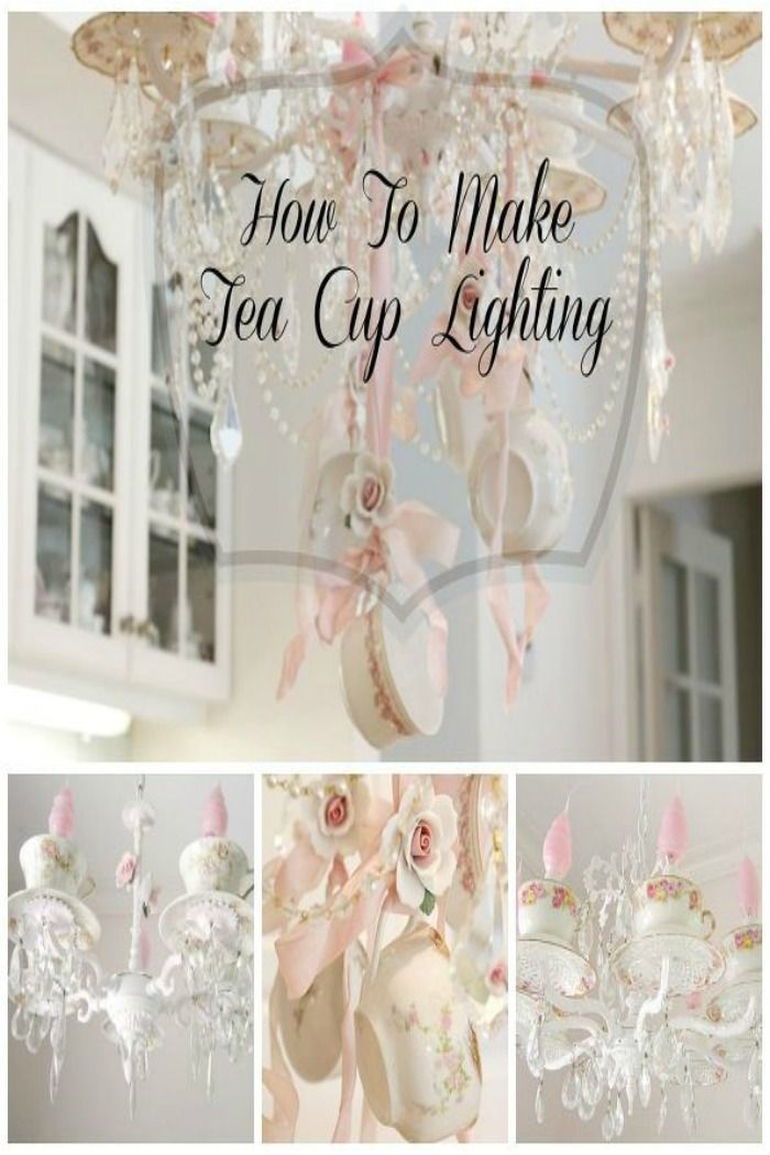 make a teacup chandelier shabby chic style tea cups and. Black Bedroom Furniture Sets. Home Design Ideas