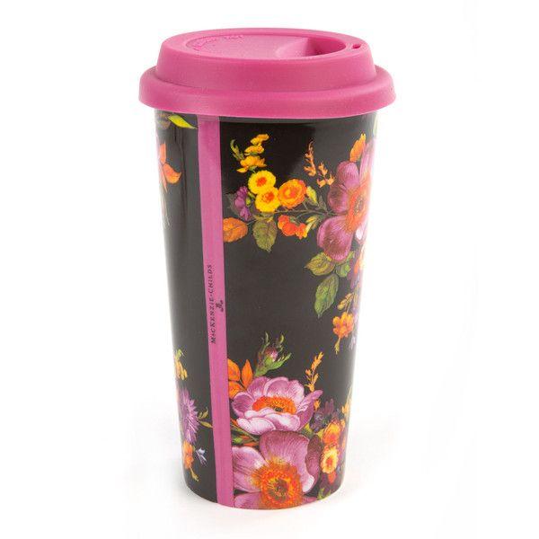 Mackenzie-Childs Black Flower Market Travel Cup (¥3,355) ❤ liked on Polyvore featuring home, kitchen & dining, drinkware, porcelain travel mug, mackenzie childs travel mug, dishwasher safe travel mug and double wall travel mug