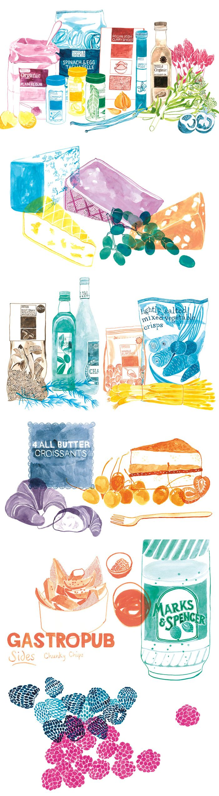 Wall illustrations for Marks and Spencer by Emily Robertson #art #illustration #painting