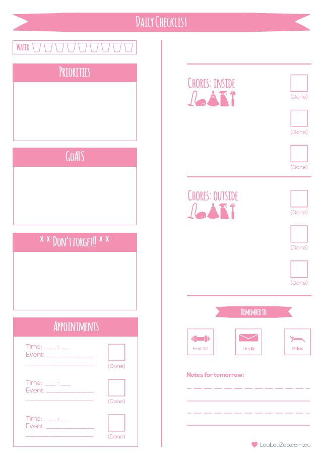 Download a copy of your free Loulou Zoo daily planner printable to do list!