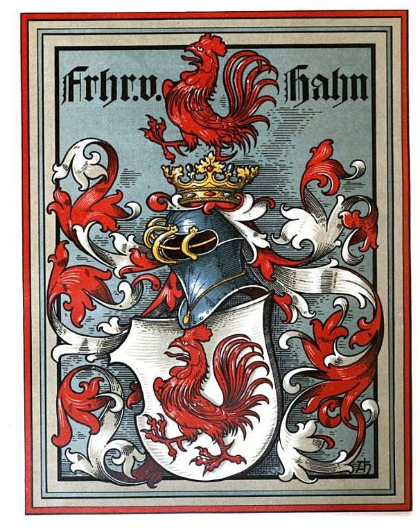 The German von Hahn family's heraldic coat of arms; at the centre is a 'Hahn' ('cockerel' in German).
