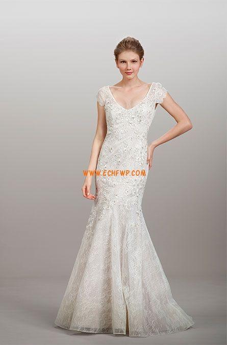 Elégant & Luxueux Manche courte Zip Robes de mariée 2014
