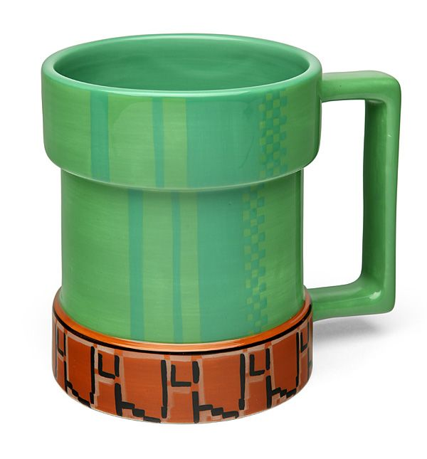 This Level-Up Pipe Mug may not warp you to another level, but it will warp your drink into your mouth with each sip. This mug looks just like the warp pipes we've gone down many times in the Super Mario video games. It holds 15