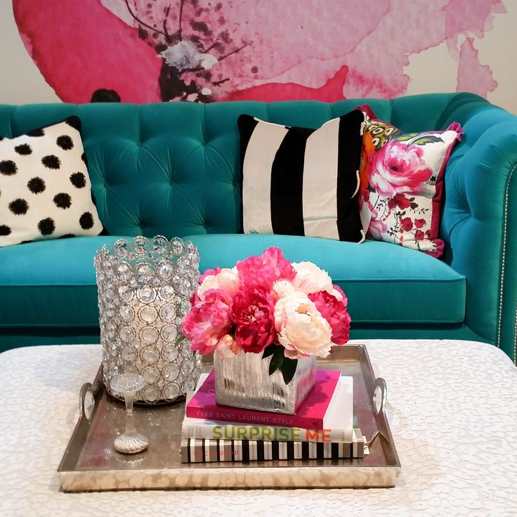 The Pink & Cream Peony with the gold vase is one of our favorite arrangements and is the perfect finishing touch for this fabulous living room. This lovely furniture was done by Joanie Design. If you