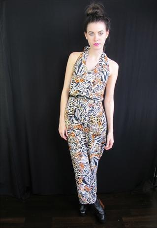 Vintage Animal Print Jumpsuit