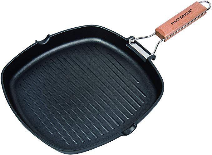 Amazon Com Masterpan Mp 140 Non Stick Grill Pan Wooden 11